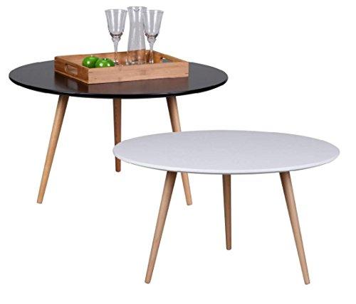 Design Couchtisch SKANDI 80 x 80 x 45 cm Form Rund Skandinavischer Retro Look | Matt Lackierter Wohnzimmertisch mit Holz-Gestell | Wohnzimmer Möbel Tisch | Farbe: Weiß