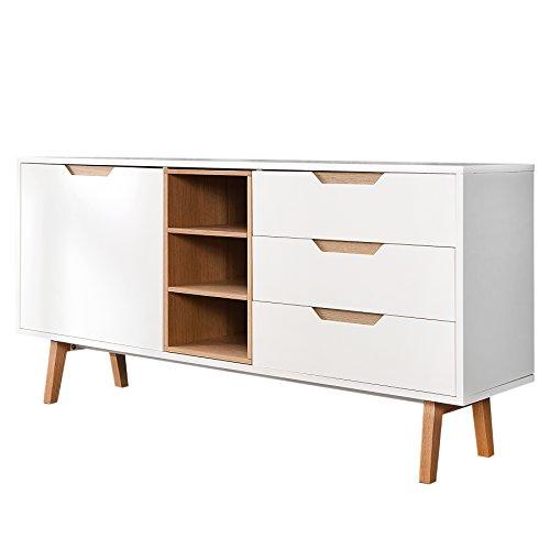 Design Retro Sideboard NORDIC 150cm edelmatt weiß Echt Eiche Anrichte Kommode Wohnzimmer Schrank