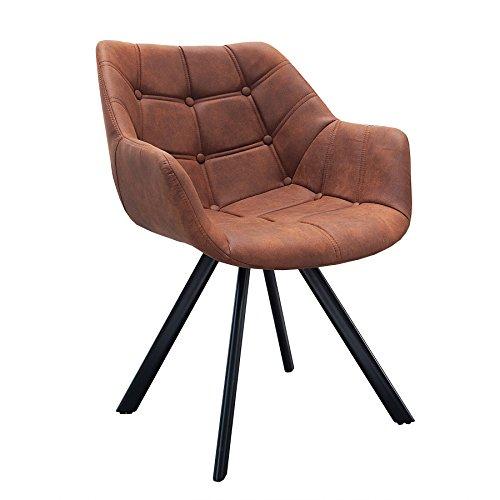 Design Stuhl THE DUTCH COURTURIER antik cognac mit Steppung Metall Esszimmer Sessel Polsterstuhl Bürosessel mit Armlehne