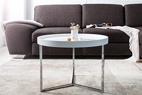 DuNord Design Couchtisch Beistelltisch TRITON 60cm weiss Chrom Retro Design Tablett Tisch