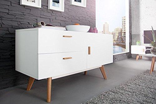 DuNord Design Sideboard Kommode STOCKHOLM 120cm weiss Eiche Retro Design Regal Anrichte