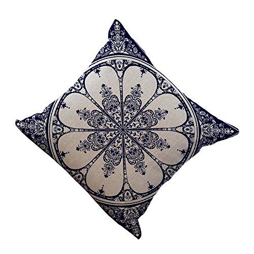 EULAGPRE Retro Blau Weiß Porzellan Baumwolle Leinen Kissen Kissenbezug Bettwäsche