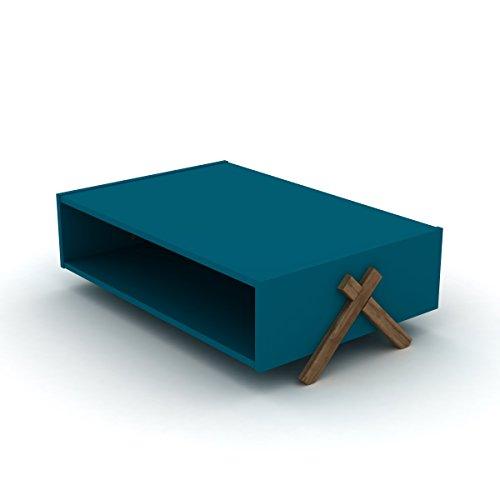 Eckiger Couchtisch, Holz-Optik, Retro-Design, 93,50 x 60,50 x 28,50 cm (Braun, Blau)