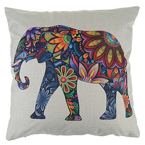 Elefant Leinen Kissenbezug Weihnachtsdeko Wohnzimmer Dekoration Sofa Sessel Zierkissenhülle Farbe Beige/Brau(No. 1)