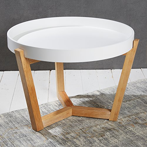 Eleganter Couchtisch Beistelltisch in weiß 40 x ø 55 cm für den Wohnbereich - Tabletttisch mit abnehmbarer Tischplatte und Holzfüßen