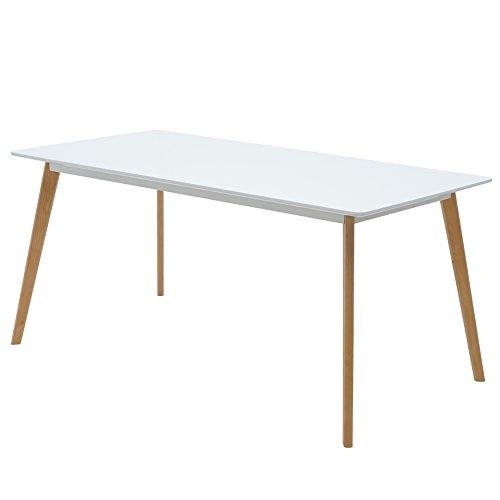 Esstisch Weiß 160 x 80 cm Holzbeine Esszimmertisch Tisch Retro Retrolook Skandinavisch