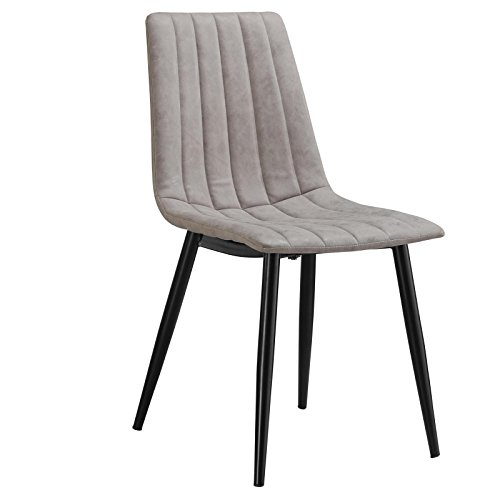 Esszimmerstuhl BUENA 4er Set Küchenstuhl , Wildlederlook in grau Skandinavisches Design