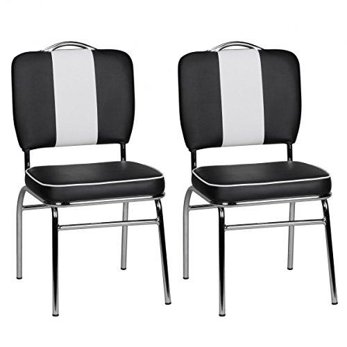 FineBuy 2er Set Esszimmerstühle KING American Diner 50er Jahre Retro 2 Stühle | Sitzfläche gepolstert mit Rücken-Lehne | Essstuhl Doppelpack Sitzhöhe 76 cm | Farbe Schwarz Weiß