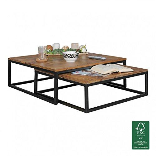 FineBuy Couchtisch OLAKA 2-teilig Massivholz 75 x 75 x 27 cm   Design Wohnzimmertisch Sheesham Holz   Wohnzimmer Lounge Tisch Palisander Massiv mit Metall Beinen