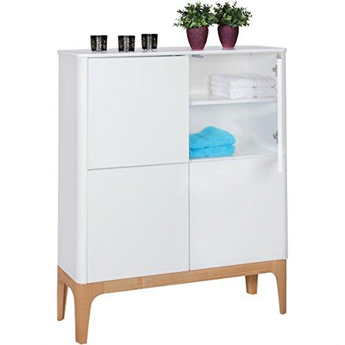 FineBuy Design Highboard SCANIO Skandinavisch Weiß | MDF Holz Retro Kommode mit 4 Türen 110 x 140 x 40 cm | Sideboard Matt lackiert