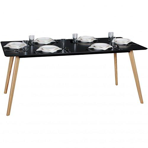 FineBuy Esszimmertisch 180 x 76 x 90 cm aus MDF Holz | Esstisch mit Tischplatte in schwarz | Robuster Küchen-Tisch im Retro Stil | Holz-Tisch in skandinavischem Design | Untergestell in Eichefurnier