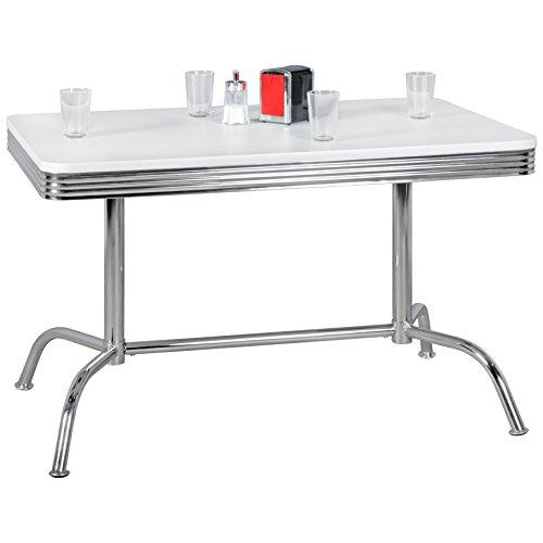 FineBuy KING - American Diner Esstisch 120 x 76 x 80 cm aus MDF Aluminium | Retro Küchentisch USA in Weiß Silber | Robuster Bistrotisch im Stil der 50er Jahre | Esszimmertisch US Dining Burger House USA