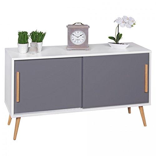 FineBuy Sideboard mit Schiebetüren Skandinavisches Design 120 x 70 x 40 cm   SCANIO Weiß Grau   Kommode mit 2 Türen - Holz Griffe & Beine