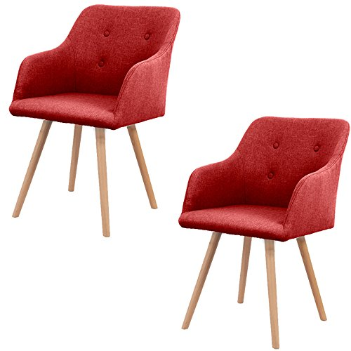 HENGMEI Esszimmerstuhl Wohnzimmerstuhl Bürostuhl mit Rückenlehne für Esszimmer und Wohnzimmer x 2 (Rot)
