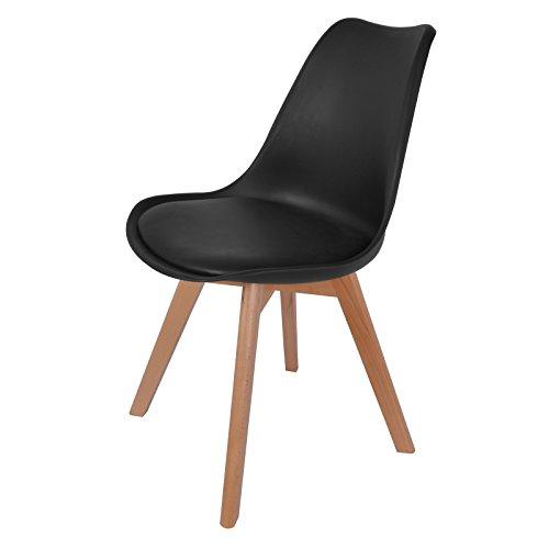 Hollylife Esszimmerstühle mit Massivholz Bein, Retro Design, gut gepolstert, Kunstlederbezug, Stuhl Wohnzimmerstuhl Küchenstuhl, Schwarz