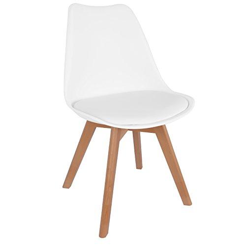 Hollylife Kunstleder Design Retro Esszimmerstuhl Wohnzimmer Stuhl mit 4 Solide Beinen für Beistelltisch in Weiß