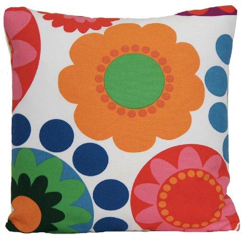 Kissenbezug Ikea Stoff Kissen Retro Zierkissenbezug Blumen Rot Orange Kissenhülle 40cm x 40cm
