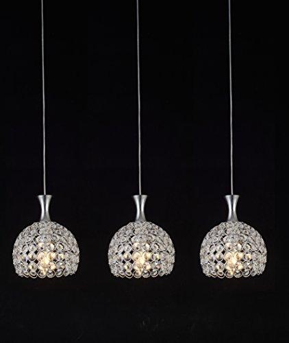 Lightess 3-Flammig Kristalle Kronleuchter LED Hängelampe Dekorative Aluminium Glas-Pendelleuchte Höhenverstellbar für Studierzimmer Wohnzimmer Restaurant Esszimmer Cafe Bar usw. (3xE14 LED Lichtquellen enthalten)