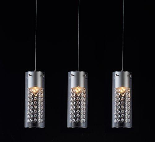 Lightess 3 Flammig Kristalle Kronleuchter LED Pendellampe Dekorative Aluminium Pendelleuchte Höhenverstellbar für Studierzimmer Wohnzimmer Restaurant Esszimmer Cafe Bar usw. (3xE14 LED Lichtquellen enthalten)