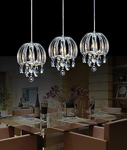 Lightess 3 Flammig Kristalle Kronleuchter LED Pendellampe Dekorative Pendelleuchte Höhenverstellbar für Studierzimmer Wohnzimmer Restaurant Esszimmer Cafe Bar usw. (3xE14 LED Lichtquellen enthalten)
