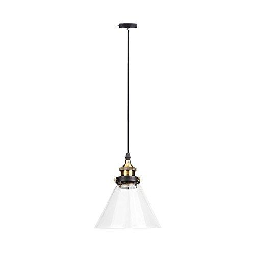 Lightess Industrielle Vintage LED Pendelleuchte Hängeleuchte Industrial Cone Glas Anhänger Deckenleuchte für Küche Pendelleuchten Schlafzimmer Flur Büro Wohnzimmer Dekorative Beleuchtung
