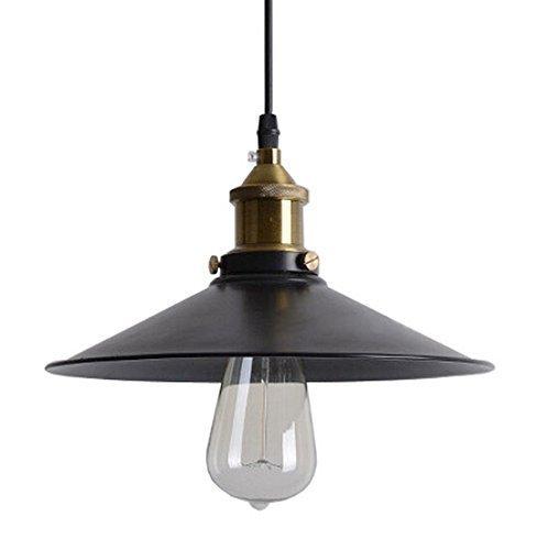 Lightess Vintage Retro Edison Loft Pendelleuchte, Retro Industrielle Deckenleuchte Lackiertem Eisen Regenschirm Lampenschirm Land-Art-Lampe ( E27 Schwarz)