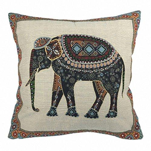 Luxbon Baumwolle Leinen Kissenbezug Lendenkissen Wurfkissenbezug Pillowcase Auto Haus Deko 18 x 18 '' Tapestry Jacquard Retro indischer Elefant