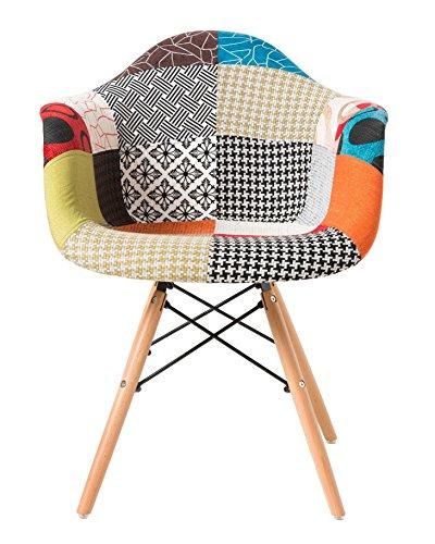 Modernen gepolsterten Eames Style Sessel Patchwork Stoff Stuhl - KOSTENLOSER VERSAND - Multi-Pattern Buche Bein Esszimmerstuhl / Büro Stuhl / Lounge Stuhl