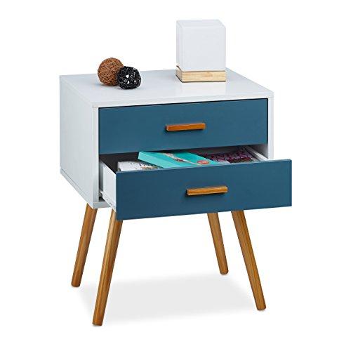 Relaxdays Beistellschrank Skandinavisches Design, 2 Schubladen, Retro HBT: 58 x 41 x 48 cm, matt lackiert, türkis weiß