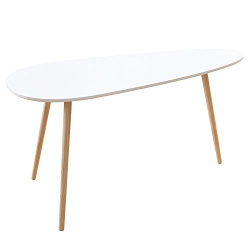 Retro Couchtisch SCANDINAVIA 115cm weiß Buche nierenförmig Beistelltisch Holztisch Tisch
