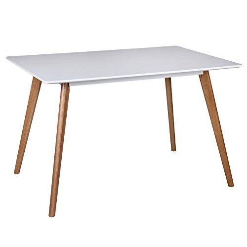 Retro Esstisch Weiß Matt Lackiert Holz 120 x 80 x 75 cm | MDF Esszimmertisch mit Holzfüßen | Küchentisch Skandinavisch