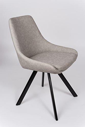 SAM® Esszimmerstuhl Linus, Kunstlederbezug in Grau, integriertes Sitzkissen, schwarz lackierte Beine aus Metall, bequeme Polsterung, pflegeleichter Schalen-Stuhl