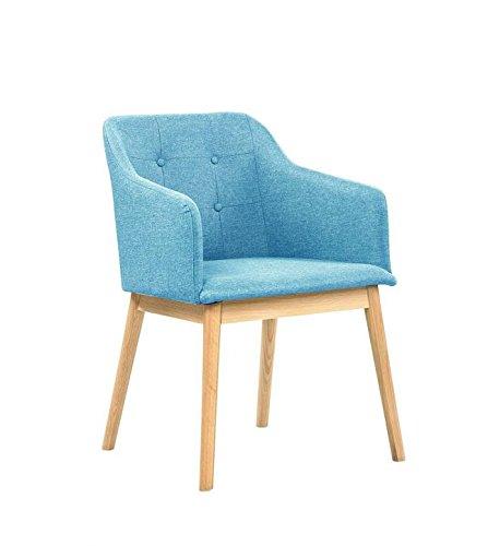 SalesFever® Stilvoller Armlehnstuhl Ando in Türkis, Designer-Stuhl mit Stoffbezug, gepolstert, Füße aus Eichenholz, Retro-Look, sesselförmiger Sitz, bequemer Sitzkomfort