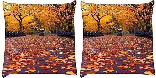 Snoogg 2Stück New York Herbst Park Digital Kissenbezug, bedruckt Kissen 40,6x 40,6cm