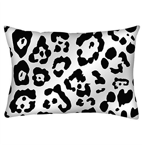 Snoogg Leopard Haut weiß und schwarz Rechteck Überwurf Werfen Kissenbezug, Decoarative Kissen Fall 40,6x 61cm