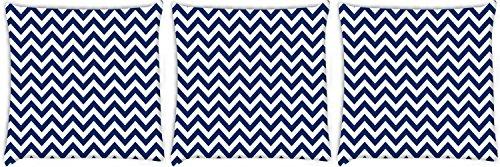 Snoogg weiß und blau Streifen 3Stück Digital Kissenbezug, bedruckt Kissen 45,7x 45,7cm