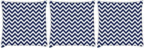 Snoogg weiß und blau Streifen 3Stück Digital Kissenbezug, bedruckt Kissen 50,8x 50,8cm