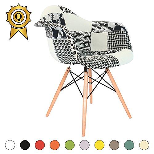 VERKAUF! 1 x Design-Stuhl Eiffel Stil Natural Wood Beine und Sitz Farbe B&W Patchwork Mobistyl® DAWL-PN-1