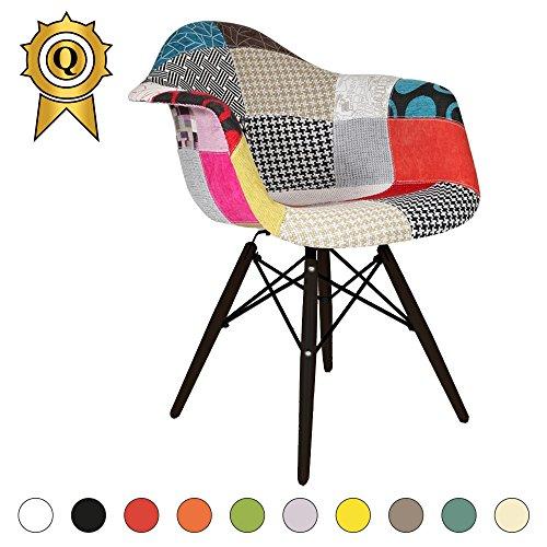 VERKAUF! 1 x Design-Stuhl Eiffel Stil Schwarz Holz Beine und Sitz Farbe Color Patchwork Mobistyl® DAWB-PC-1