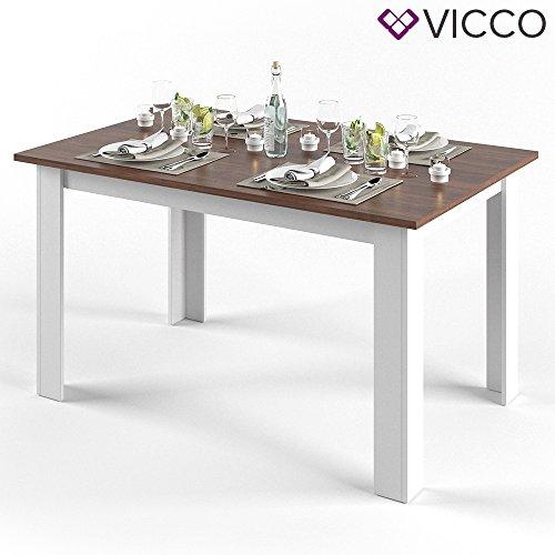 VICCO Esstisch KARLOS 140cm Weiß Nussbaum Esszimmertisch Wohnzimmer Küchentisch +++ mit kratzfester robuster Melaminharz-Oberfläche +++