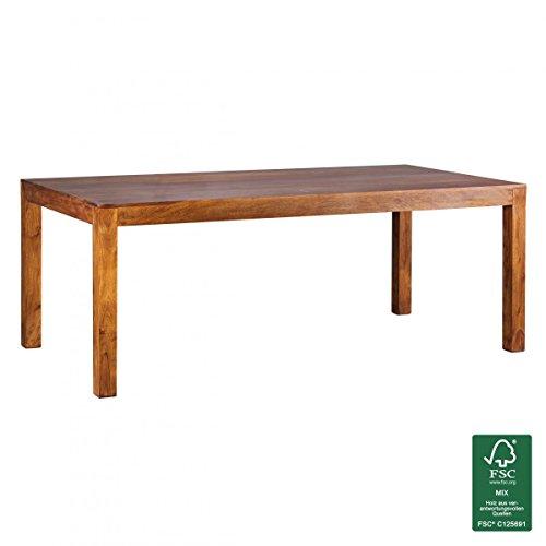 WOHNLING Esstisch Massivholz Sheesham 200 x 100 x 76 cm Esszimmer-Tisch Design Küchentisch modern Landhaus-Stil Holztisch rechteckig dunkel-braun Natur-Produkt Massivholzmöbel Echt-Holz unbehandelt