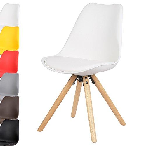 WOLTU 1 Stück Esszimmerstuhl Design Stuhl Küchenstuhl Kunstleder Holz Neu Design BH52ws-1-a Weiß