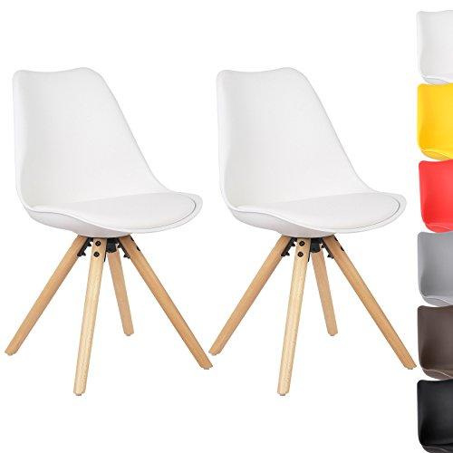 WOLTU® BH52ws-2 2 x Esszimmerstühle 2er Set Esszimmerstuhl mit Sitzfläche aus Kunstleder Design Stuhl Küchenstuhl Holz, Neu Design, Weiß