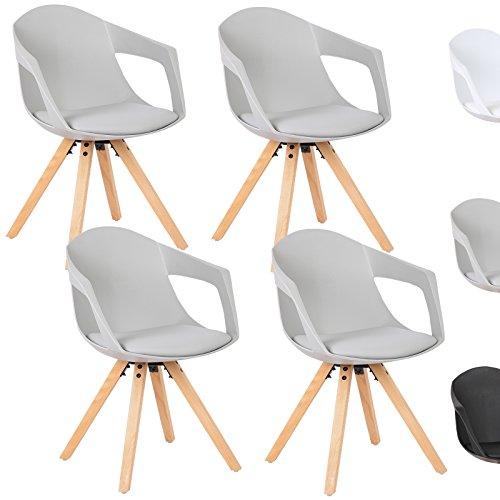 WOLTU® Esszimmerstuhl 4er Set Esszimmerstühle Küchenstuhl Wohnzimmerstuhl, mit Arm- und Rückenlehne, Sitzfläche aus Kunstleder, Beine aus Massivholz, Grau, BH49gr-4