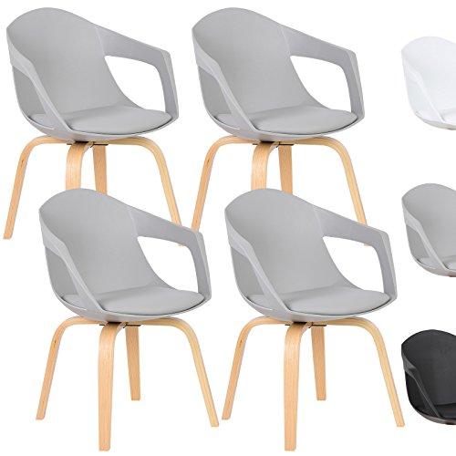 WOLTU® Esszimmerstuhl 4er Set Esszimmerstühle Küchenstuhl Wohnzimmerstuhl, mit Arm- und Rückenlehne, Sitzfläche aus Kunstleder, Beine aus Massivholz, Grau, BH50gr-4