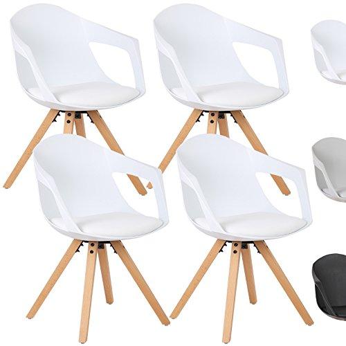 WOLTU® Esszimmerstuhl 4er Set Esszimmerstühle Küchenstuhl Wohnzimmerstuhl, mit Arm- und Rückenlehne, Sitzfläche aus Kunstleder, Beine aus Massivholz, Weiß, BH49ws-4