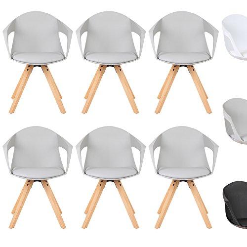 WOLTU® Esszimmerstuhl 6er Set Esszimmerstühle Küchenstuhl Wohnzimmerstuhl, mit Arm- und Rückenlehne, Sitzfläche aus Kunstleder, Beine aus Massivholz, Grau, BH49gr-6