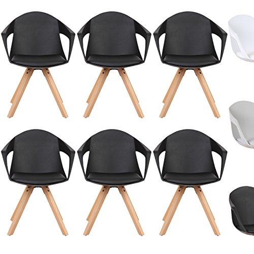 WOLTU® Esszimmerstuhl 6er Set Esszimmerstühle Küchenstuhl Wohnzimmerstuhl, mit Arm- und Rückenlehne, Sitzfläche aus Kunstleder, Beine aus Massivholz, Schwarz, BH49sz-6