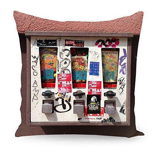 """artboxONE Kissen 40x40 cm Essen & Trinken Streetart """"Kaugummi Automat"""" rot beidseitig bedrucktes Zierkissen - hochwertiges Designkissen von Torsten Kupke"""