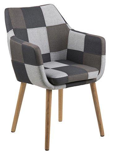 designbotschaft: Stockholm Stuhl Patchwork - Grau / Eiche - Esszimmerstühle 1 Stck